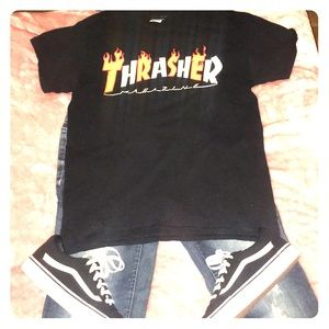 Thrasher Flame Black T-Shirt